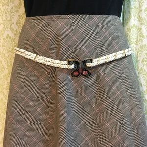 Vintage cloisonné buckle rope belt